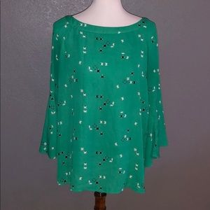 Green black and white blouse with boat neck